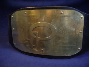 Quiz-O-Tron trophy belt. Designed by Brian George, crafted by Ryan Consell